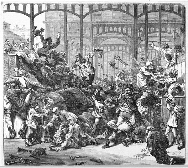 A raid on the provision dealers of Les Halles by hungry hoards during the Paris Commune Date: 1871