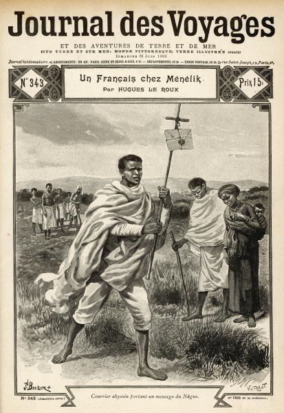 An Ethiopian courier carries a message from the Negus : peasants along the route bow their heads in respect