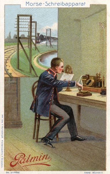 Operating an electric telegraph using the Morse code. Date