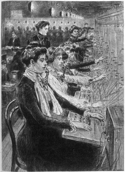 Girls working in a manual telephone exchange