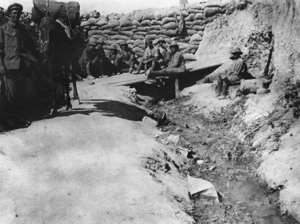 Sandbag wall across gully used as main communication trench at Helles, Gallipoli during World War I