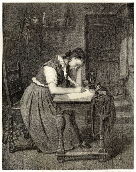 A Swedish peasant woman writing with a quill