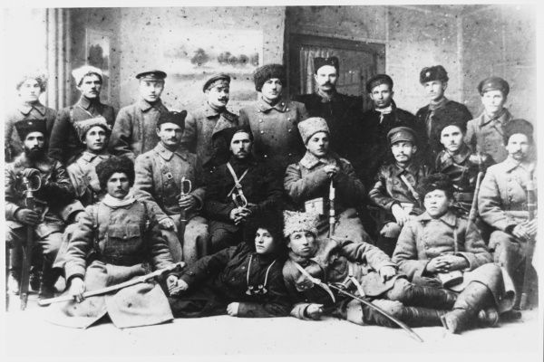 A group of communist military commanders, including Voroshilov Klim, take time off from the war to pose for the camera