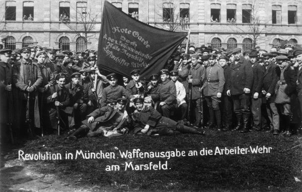 Munich Soldiers and Workers Republic. Propaganda photograph