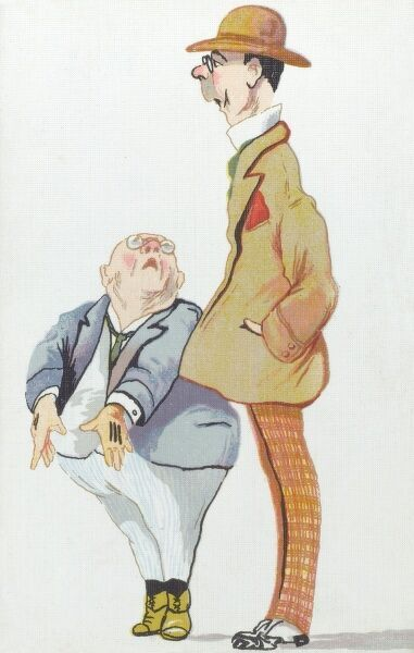 A small squat, bald and rather rotund Italian gentleman, complains to his slender and tall friend about the disparity in their physicality! Date: 1917