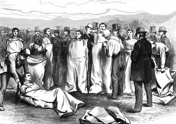 Engraving showing a number of competitors in a sack race held at the Lillie Bridge stadium, London, 1874