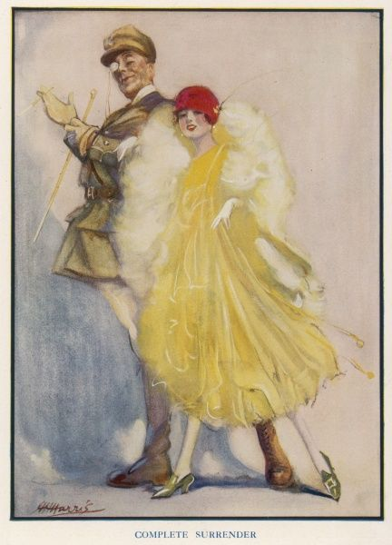 A post-WWI issue of The Bystander depicting a dashing monocled officer escorting a glamorous flapper girl dressed in yellow, furs and a red cloche hat