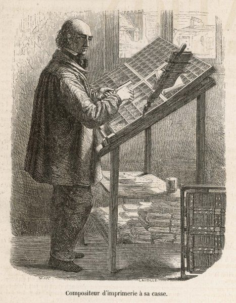 A compositor at work in pre- mechanical days, picking out the individual letters to make up the text held in the holder beside him
