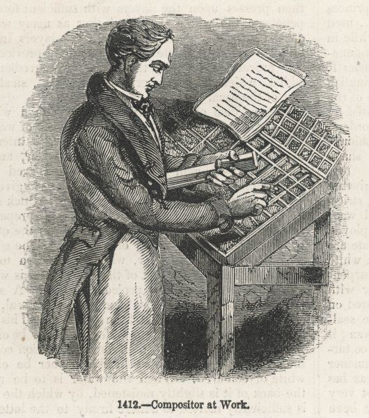 A compositor at work, setting the type for a book individual letter by individual letter, to say nothing of spaces and punctuation