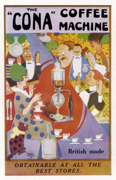 Advertisement for the Cona coffee machine (British made)
