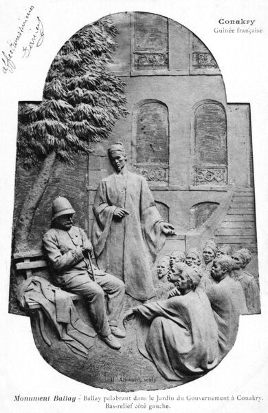 French West Africa (Guinea) Conakry - Ballay Monument - in memorium of French Governor Noel Ballay (Governor between 1891-1900) - depicted in this relief in the Garden of the Governor's House meeting with local native dignitaries. Date: 1905
