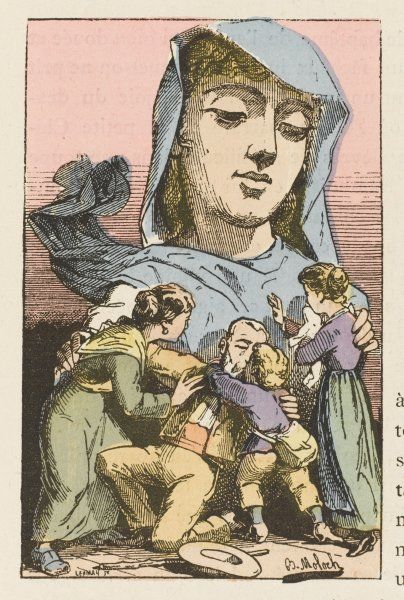 Amnesty depicted as a merciful mother gathering her wayward but now repentant offspring to her forgiving bosom