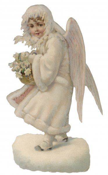 An angel in the snow with a posy of white flowers