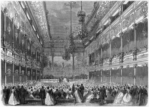 A crowd gathers for a performance in the new concert room in Boulevard Saint Germain, Paris, in 1863. Date: 1863