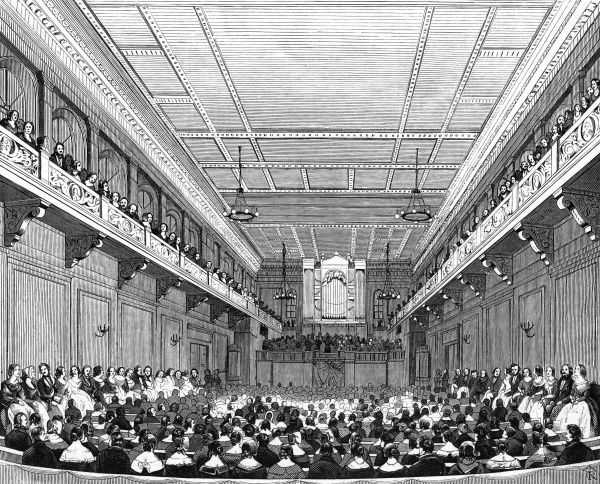 Interior of a concert hall in Hamburg, Germany, during a performance in 1843. Date: 1843