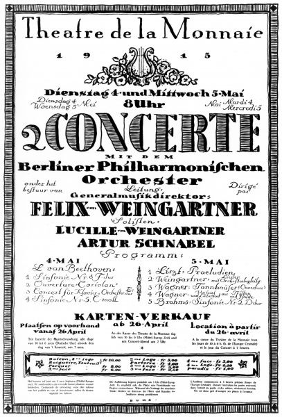 Programme of concert music given by Felix Weingartner and the Berlin Philharmonic orchestra in occupied Belgium,Theatre Monnaie, 1915. Date: 1915