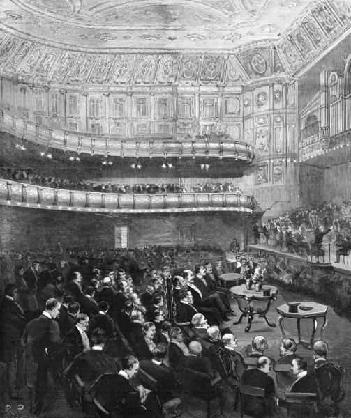 The first smoking concert given by the Royal Amateur Orchestral Society at the then new Queen's Hall, Langham Place, in the presence of the Prince of Wales(later King Edward VII), Duke Alfred of Saxe Coburg, and the Duke of Connaught. The hall seated 3
