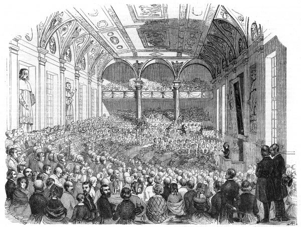 A concert at the large hall at the Sorbonne, Paris. Date: 1843