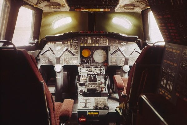 The cockpit of the first prototype Concorde, 001, at the St. Martin Sud-Aviation factory at Toulouse, France. Date: late 1960s