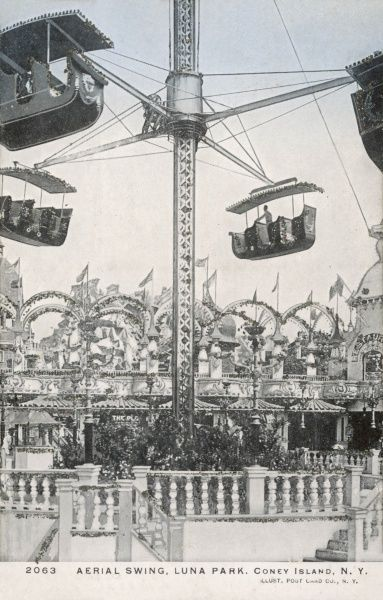 The Aerial Swing at Luna Park on Coney Island, New York, America