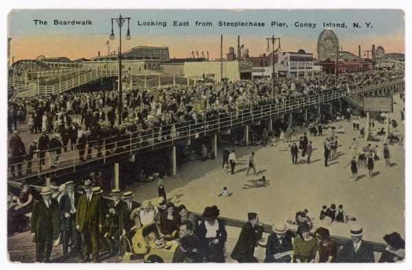 The Boardwalk, looking east from Steeplechase Pier, Coney Island, New York, USA