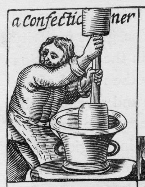 A confectioner stirs a big bowl of mixture. 'These tradesman are preachers in the City of London, 1647.&#39