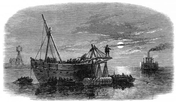 Engraving showing the moonlit scene as Confederate troops laid torpedoes in the main channel of Charlestown Harbour during the American Civil War