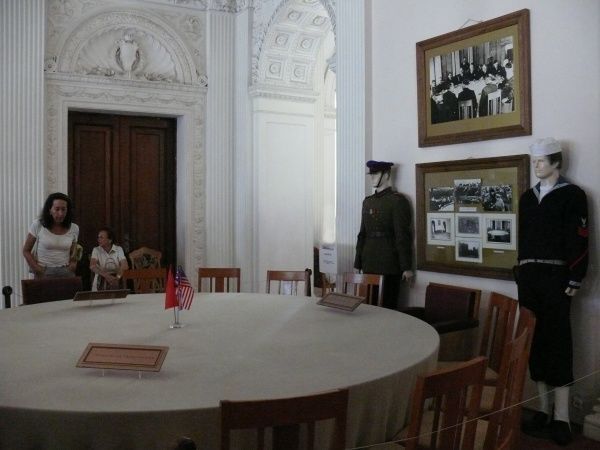 View of the conference table in the Livadia (Livadija) Palace, Yalta, Ukraine, where the historic February 1945 meeting took place between Stalin, Roosevelt and Churchill