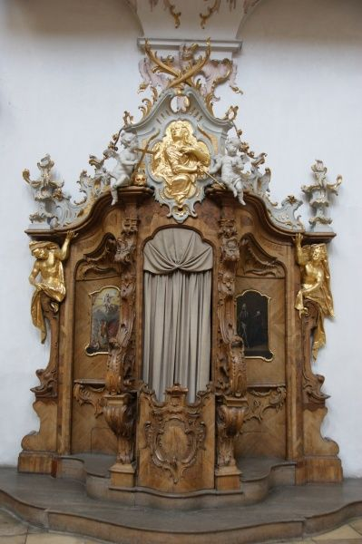 View of an ornate confessional at Ettal Monastery, Upper Bavaria, Germany