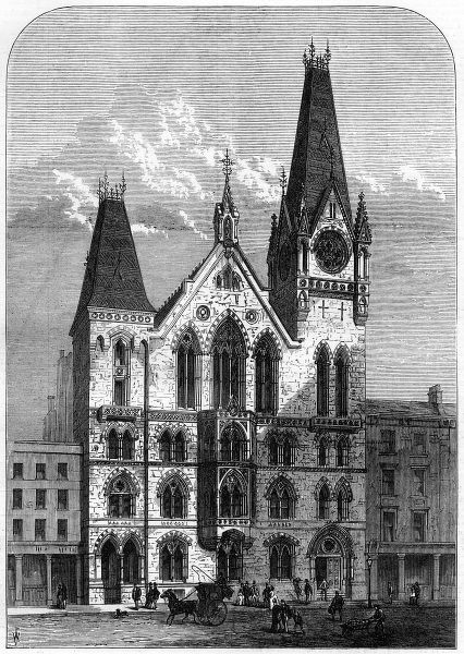 Engraving showing the exterior of the Congregational Memorial Hall, Farringdon Street, London, 1875. Date: 30 January 1875