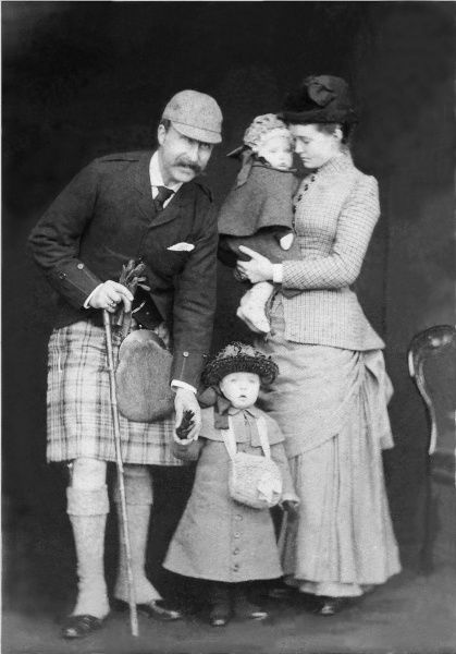 Prince Arthur, Duke of Connaught (1850-1942) with his wife, Princess Luise Margarete of Prussia (1860-1917) and their two elder children, Princess Margaret 'Daisy' of Connaught (1882-1920) and Prince Arthur of Connaught (1883-1938) in Scotland