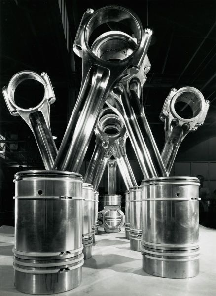 Connecting rods and pistons which transmit power for the 3000 hp Deltic engine Date