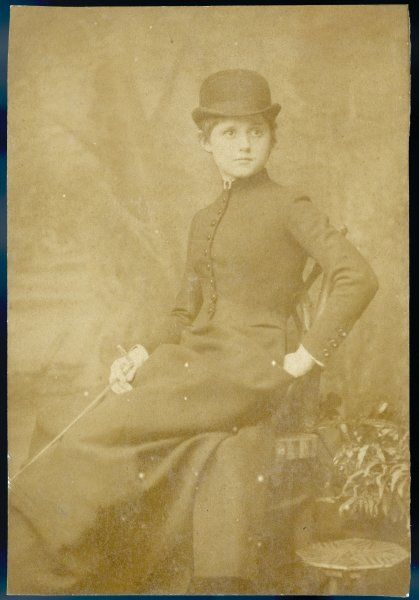 CONNIE GILCHRIST English actress in her riding clothes - she left the stage in the late 1880s to become Countess of Orkney