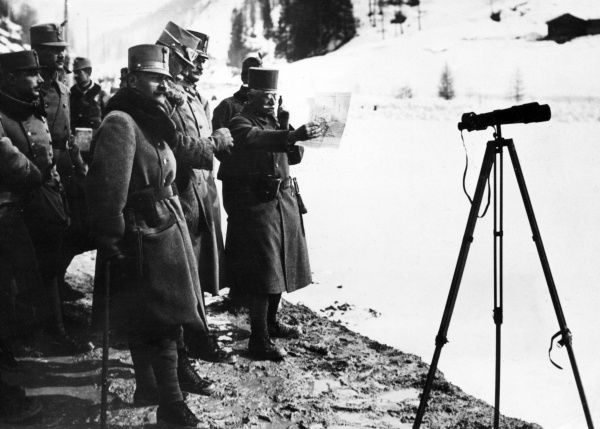 Count Franz Conrad von Hotzendorf (1852-1925), Chief of the General Staff of the Austro-Hungarian Army at the outbreak of the First World War. Seen here with others, examining a map, with a telescope on a tripod nearby