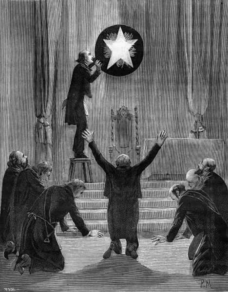 The Venerable Brother is on his knees making the shape of the hanging star before him, which the Master of Ceremony is lighting. Date: 1890s