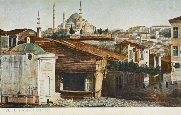 A view over the rooftops of Constantinople. Mosque and minarets in distance
