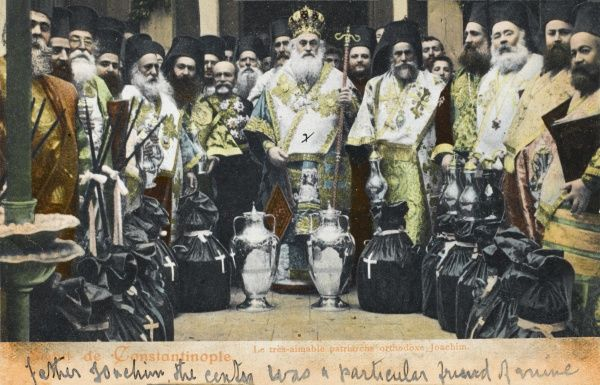 Constantinople - Orthodox Church Patriarch Joachim with various bishops. Standing before a series of ceremonial items, some wrapped in black cloth and marked with a white cross with church silver objects