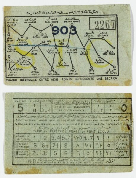 The front and the back of an Ottoman tram ticket from Constantinople written in Ottoman and English. The route taken (here between Matchka and Eminonu) is drawn in blue crayon