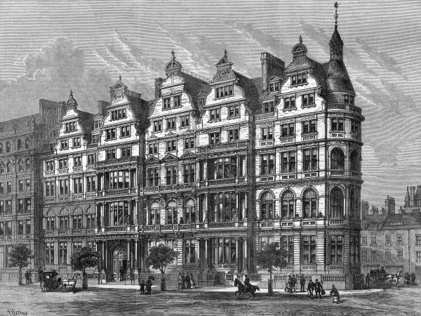 Engraving showing the exterior of the Constitutional Club, Northumberland Avenue, Charing Cross, London, 1885. This building was designed by R.W. Edis. Date: 29 August 1885