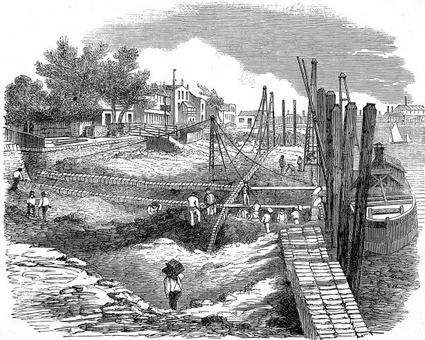Engraving showing the construction of the Chelsea Embankment, London, in 1857