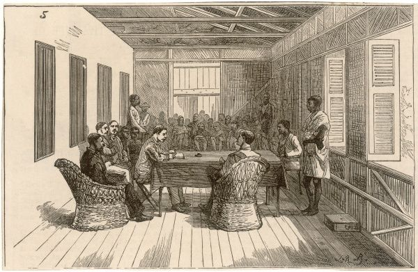 British officials preside over the Consular Court at Lokoja, in present-day Nigeria