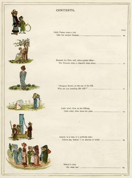Contents page for Under the Window by Kate Greenaway.  (2 of 8) first published 1879