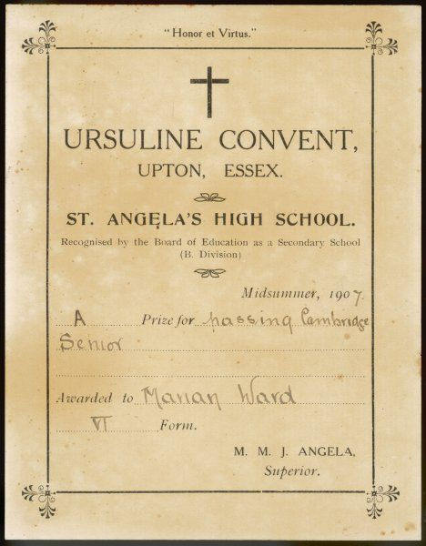 A certificate or bookplate to mark the winning of a prize for passing Cambridge Senior by Marian Ward, VI form, Ursuline Convent, Upton, Essex & St Angela's High School