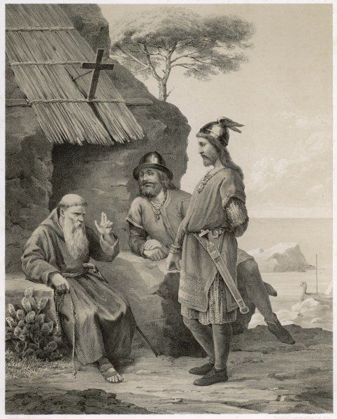 During his Viking wanderings Olaf Tryggvesson is converted by a hermit on the Isles of Scilly who predicts that he will become a great King