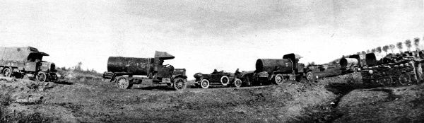 Photograph showing a convoy of British water trucks heading towards the front line in France, during the First World War, 1916