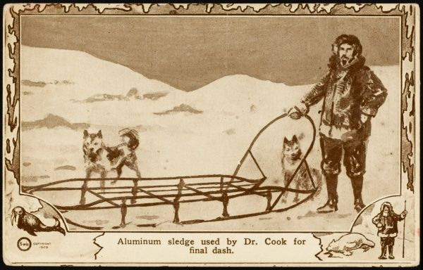 Frederick Cook with the aluminium sledge he used on his final dash to the Pole - except that his claim to have reached it was later disallowed