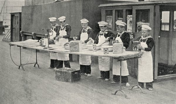 Boys taking part in a cookery class on the Training Ship Wellesley, on the River Tyne at North Shields, Northumberland
