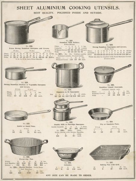 A selection of saucepans and other cooking utensils