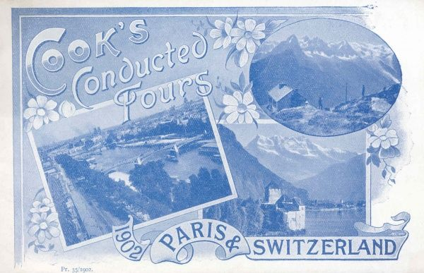 Cover illustration of Cook's Conducted Tours, Paris and Switzerland, depicting three scenes -- the River Seine in Paris, an alpine mountain scene, and a lake scene with a chateau by the water's edge