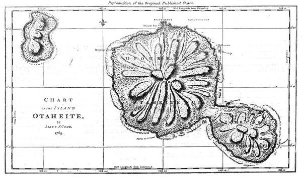 Cook's map of Tahiti. Date: 1769